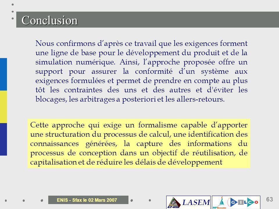 LASEM ENIS - Sfax le 02 Mars 2007 63 Nous confirmons daprès ce travail que les exigences forment une ligne de base pour le développement du produit et