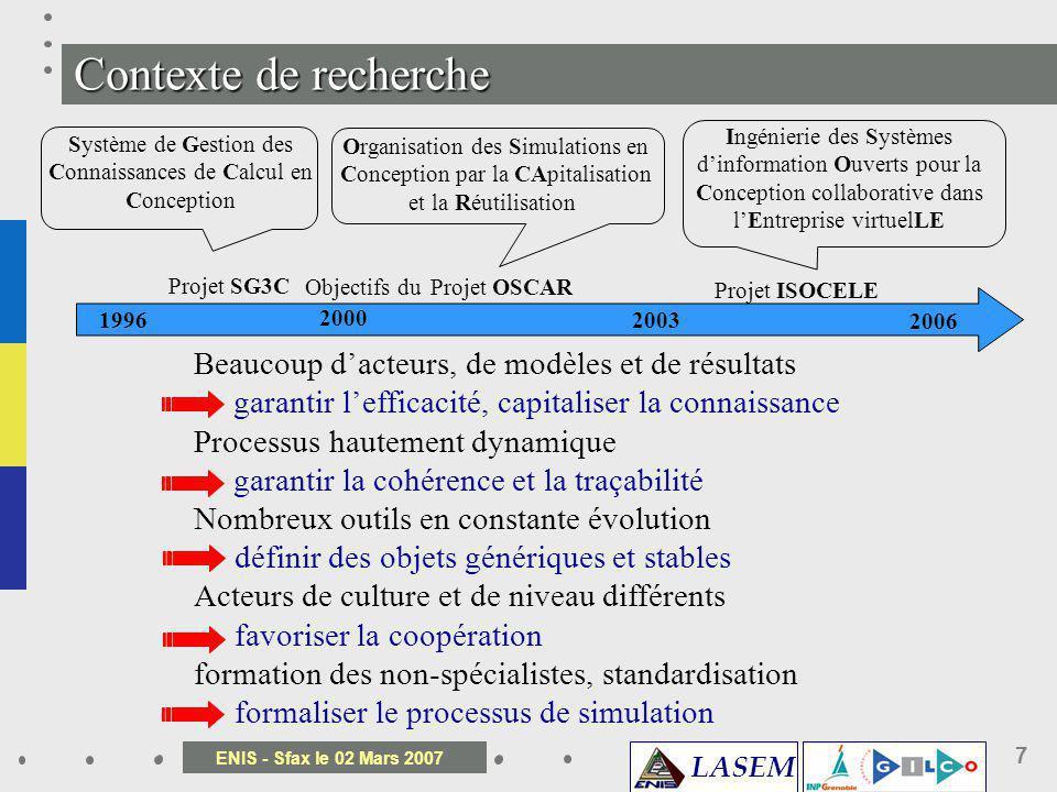 LASEM ENIS - Sfax le 02 Mars 2007 7 Projet SG3C Projet OSCAR Projet ISOCELE 1996 2000 2003 2006 Système de Gestion des Connaissances de Calcul en Conc