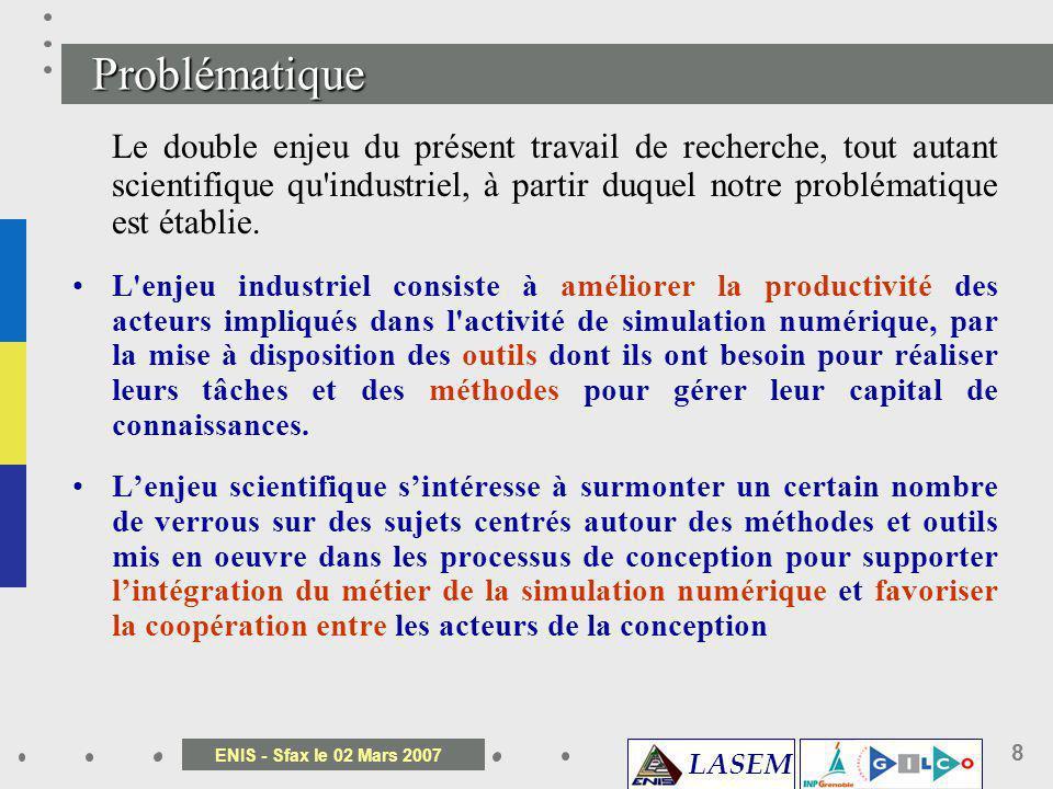 LASEM ENIS - Sfax le 02 Mars 2007 8 Le double enjeu du présent travail de recherche, tout autant scientifique qu'industriel, à partir duquel notre pro