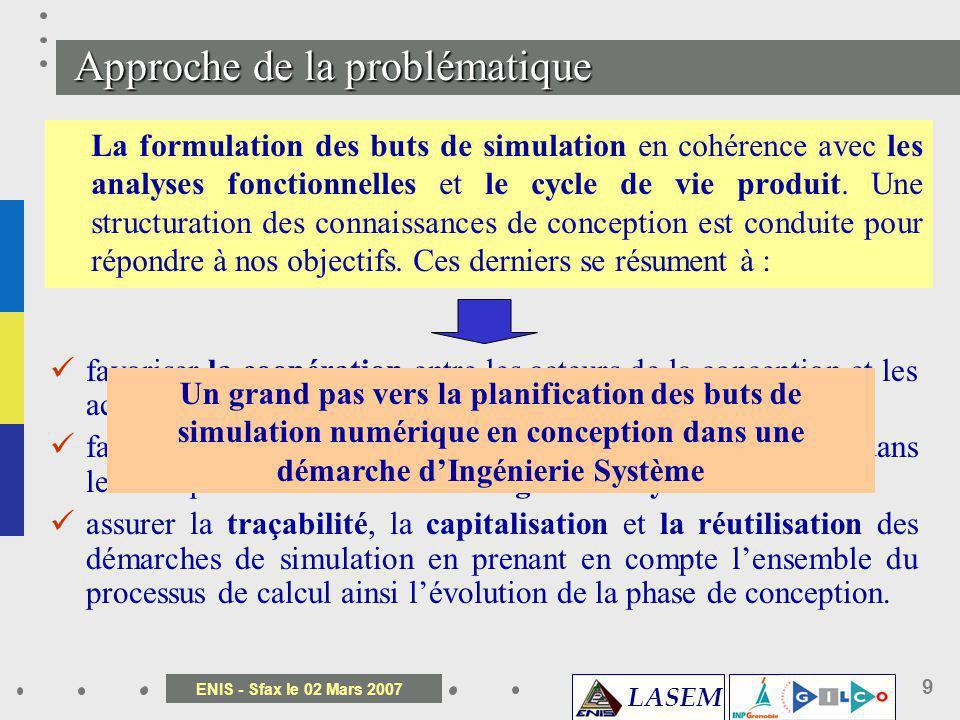 LASEM ENIS - Sfax le 02 Mars 2007 9 La formulation des buts de simulation en cohérence avec les analyses fonctionnelles et le cycle de vie produit. Un