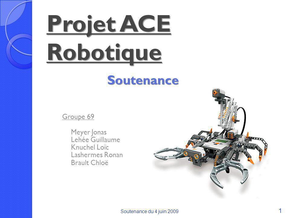 Soutenance du 4 juin 2009 1 Projet ACE Robotique Groupe 69 Meyer Jonas Lehée Guillaume Knuchel Loïc Lashermes Ronan Brault Chloë Soutenance
