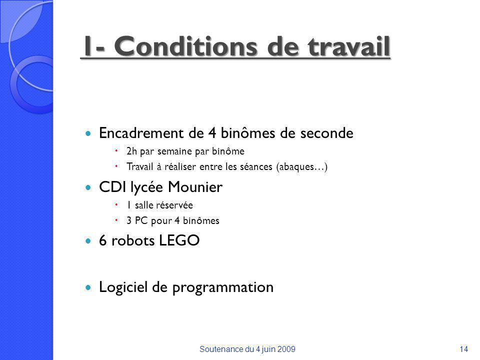 1- Conditions de travail Encadrement de 4 binômes de seconde 2h par semaine par binôme Travail à réaliser entre les séances (abaques…) CDI lycée Mounier 1 salle réservée 3 PC pour 4 binômes 6 robots LEGO Logiciel de programmation Soutenance du 4 juin 200914