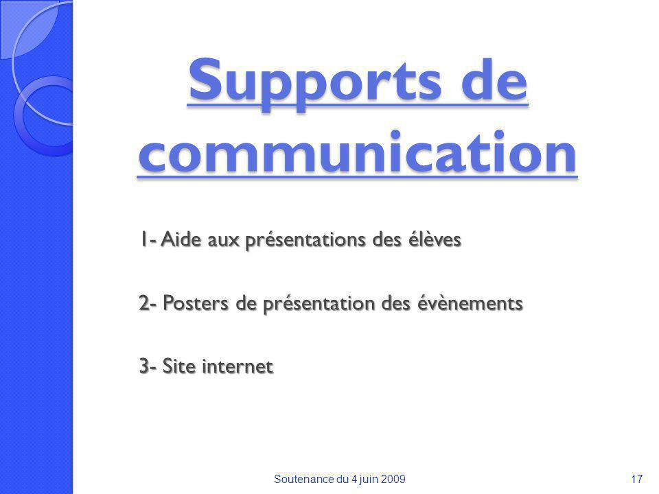 Supports de communication 1- Aide aux présentations des élèves 2- Posters de présentation des évènements 3- Site internet Soutenance du 4 juin 200917