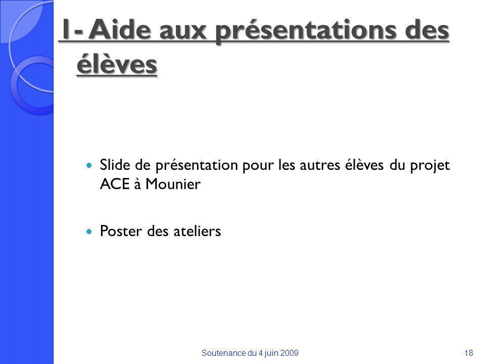 1- Aide aux présentations des élèves Slide de présentation pour les autres élèves du projet ACE à Mounier Poster des ateliers Soutenance du 4 juin 200918