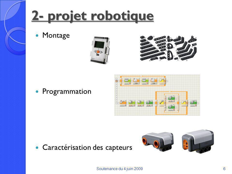 Montage Programmation Caractérisation des capteurs Soutenance du 4 juin 20096 2- projet robotique