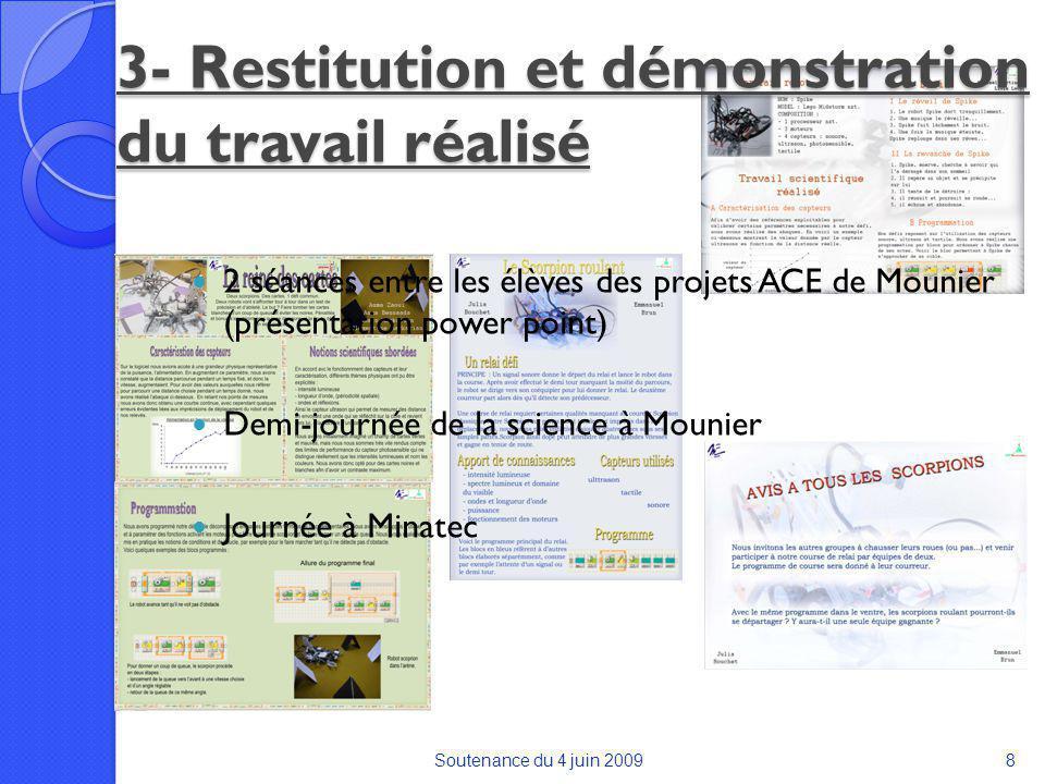 3- Restitution et démonstration du travail réalisé 2 séances entre les élèves des projets ACE de Mounier (présentation power point) Demi-journée de la science à Mounier Soutenance du 4 juin 20098 Journée à Minatec