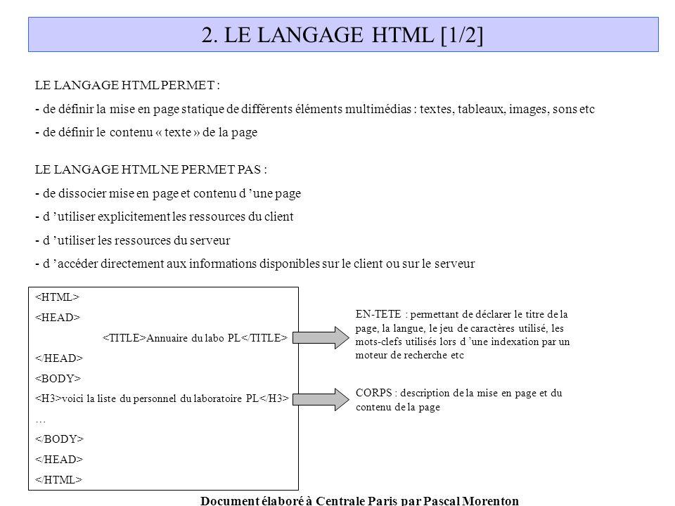 Document élaboré à Centrale Paris par Pascal Morenton 2.