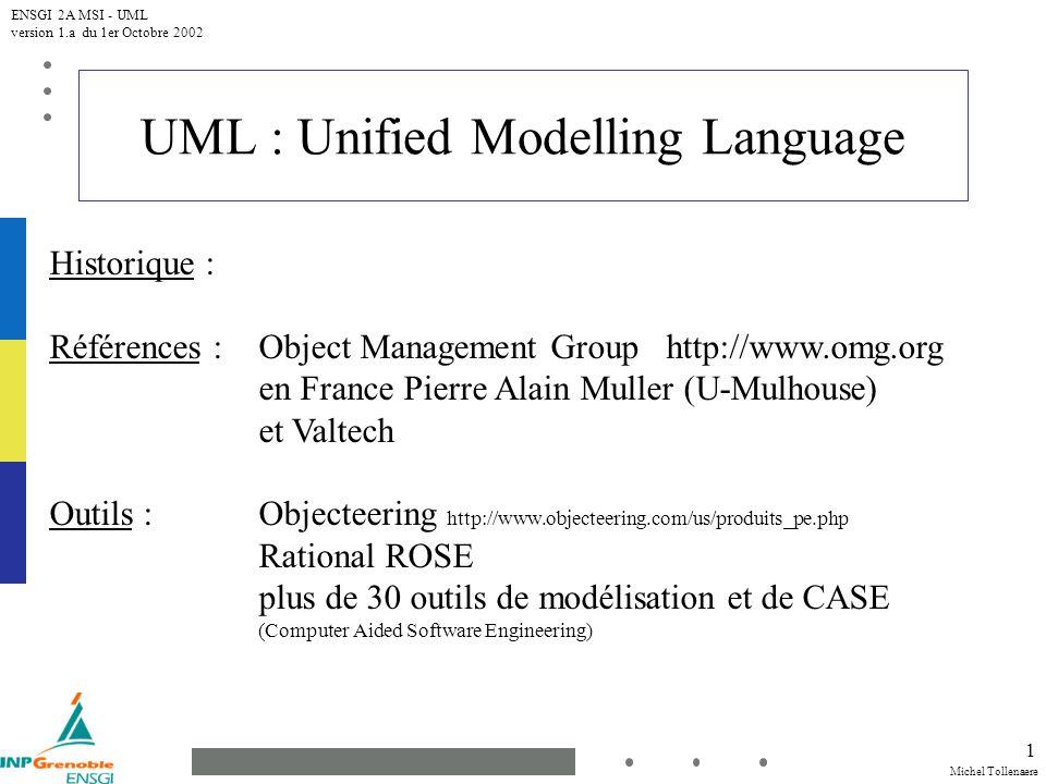 Michel Tollenaere ENSGI 2A MSI - UML version 1.a du 1er Octobre 2002 22 Mécanismes UML : Stéréotype Un mécanisme dextensibilité d UML.