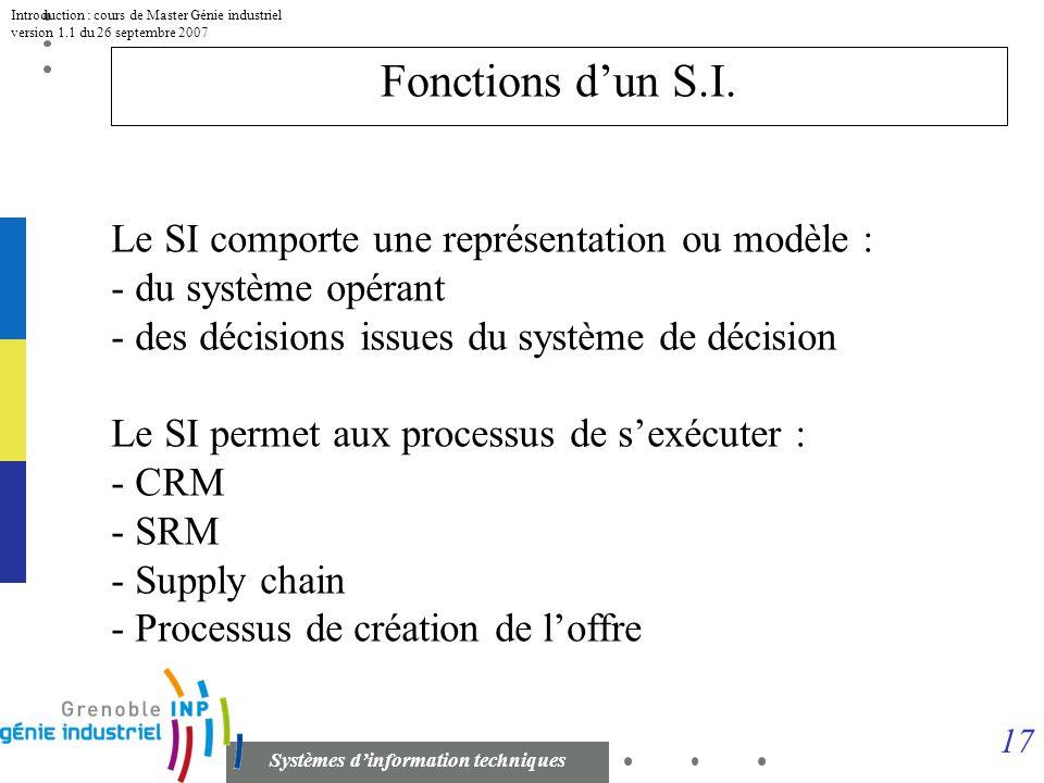 16 Systèmes dinformation techniques Introduction : cours de Master Génie industriel version 1.1 du 26 septembre 2007 Exemple : une compagnie de transp