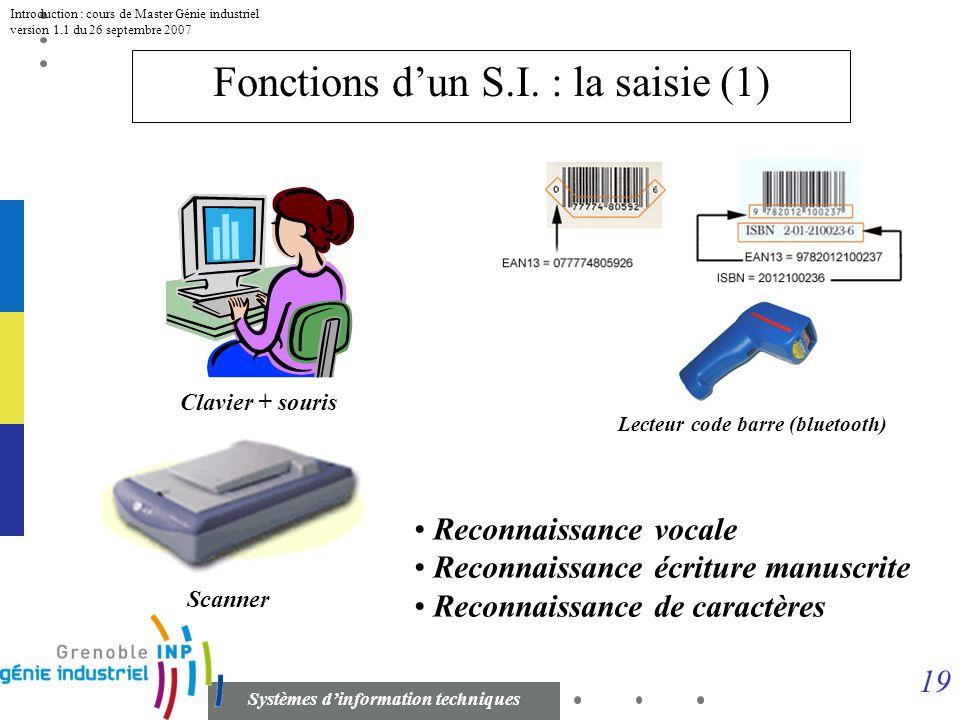 18 Systèmes dinformation techniques Introduction : cours de Master Génie industriel version 1.1 du 26 septembre 2007 Fonctions dun S.I. Système opéran
