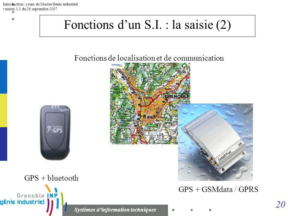 19 Systèmes dinformation techniques Introduction : cours de Master Génie industriel version 1.1 du 26 septembre 2007 Fonctions dun S.I. : la saisie (1