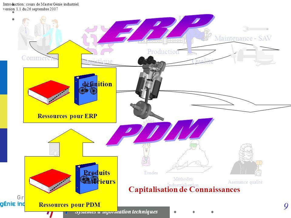 8 Systèmes dinformation techniques Introduction : cours de Master Génie industriel version 1.1 du 26 septembre 2007 LES SYSTEMES D INFORMATIONS D ENTR