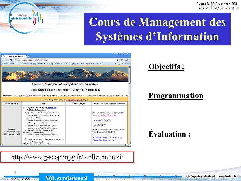 Michel Tollenaere SQL et relationnel 32 Cours MSI-2A filière ICL version 1.1 du 2 novembre 2010 SELECT [Toutes-les-moyennes-mat/élèves].NomMat, Avg([Toutes-les-moyennes-mat/élèves].MoyenneDeValeur) AS MoyenneDeMoyenneDeValeur FROM [Toutes-les-moyennes-mat/élèves] GROUP BY [Toutes-les-moyennes-mat/élèves].NomMat; Moyenne par matière Moyennes par matière NomMatMoyenne de la division Gest-prod13,09 MSI14,22 Qualité10,18 DML (Data Manipulation Language)