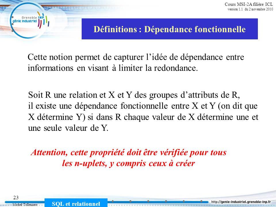 Michel Tollenaere SQL et relationnel 23 Cours MSI-2A filière ICL version 1.1 du 2 novembre 2010 Définitions : Dépendance fonctionnelle Cette notion pe