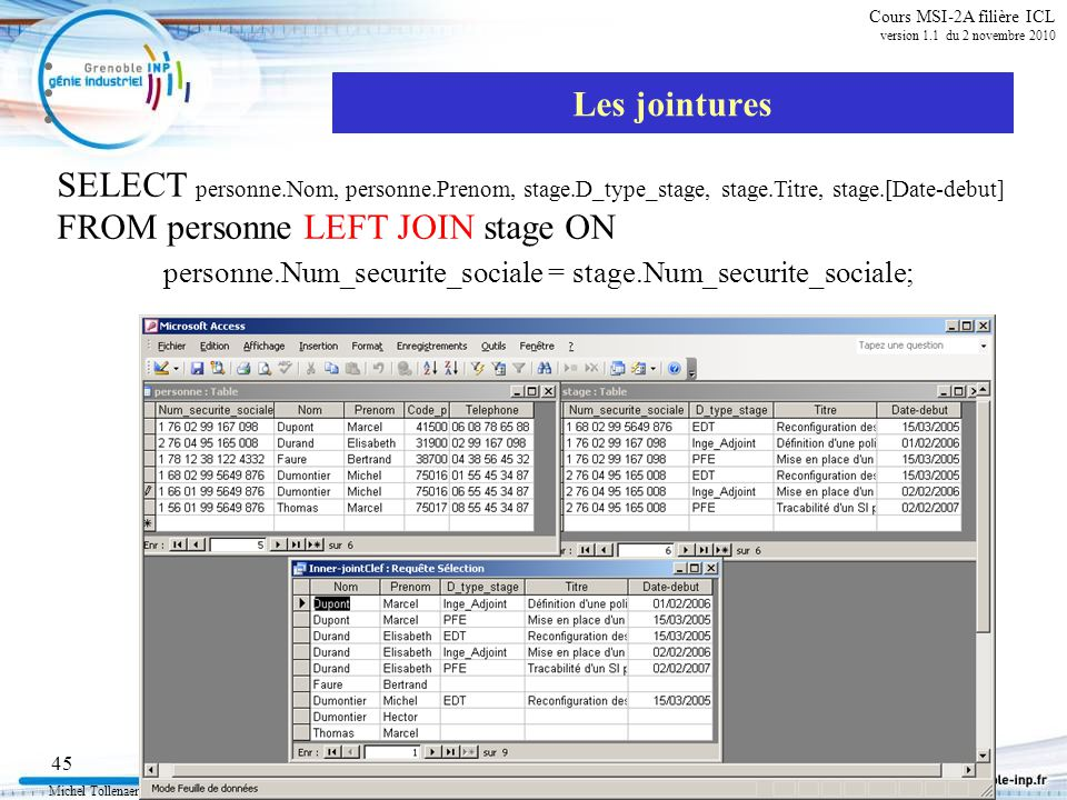 Michel Tollenaere SQL et relationnel 45 Cours MSI-2A filière ICL version 1.1 du 2 novembre 2010 Les jointures SELECT personne.Nom, personne.Prenom, stage.D_type_stage, stage.Titre, stage.[Date-debut] FROM personne LEFT JOIN stage ON personne.Num_securite_sociale = stage.Num_securite_sociale;