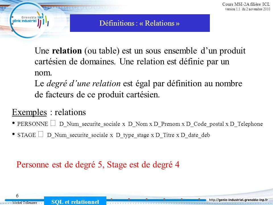 Michel Tollenaere SQL et relationnel 27 Cours MSI-2A filière ICL version 1.1 du 2 novembre 2010 SQL comporte 3 parties 1) - Le DML (Data Manipulation Language) Sélection dinformation, création et mise à jour denregistrements SELECT, INSERT, UPDATE, DELETE, JOIN 2) - Le DDL (Data Definition Language) Création des tables, des attributs et des contraintes dintégrité CREATE, ALTER, DROP, RENAME 3) - Le DCL (Data Control Language) Pour contrôler laccès aux données GRANT, REVOKE