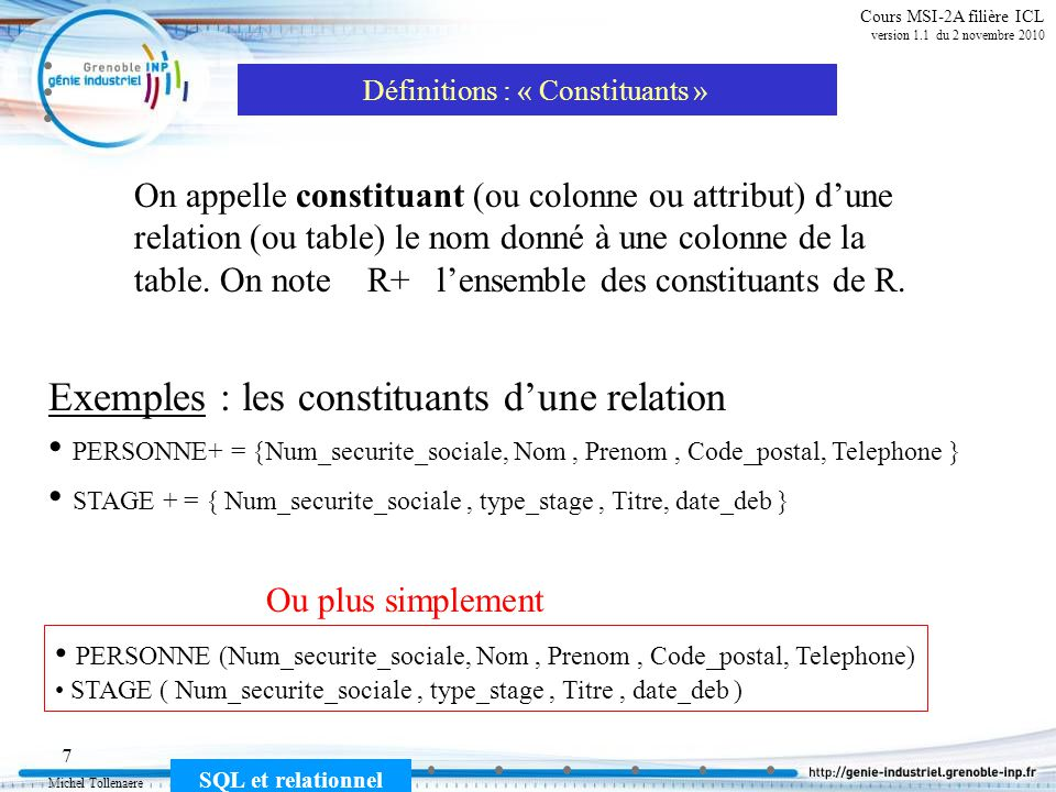 Michel Tollenaere SQL et relationnel 48 Cours MSI-2A filière ICL version 1.1 du 2 novembre 2010 DML (Data Manipulation Language)