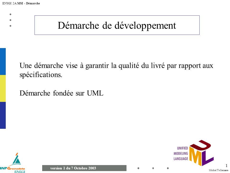 Michel Tollenaere version 1 du 7 Octobre 2003 ENSGI 2A MSI - Démarche 1 Démarche de développement Une démarche vise à garantir la qualité du livré par rapport aux spécifications.