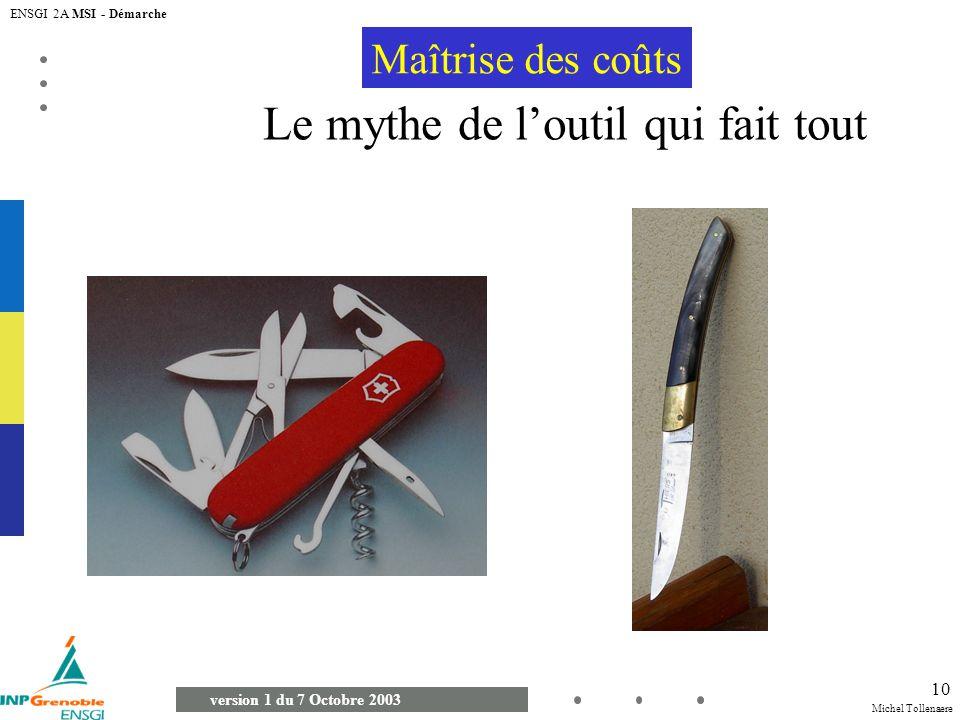 Michel Tollenaere version 1 du 7 Octobre 2003 ENSGI 2A MSI - Démarche 10 Le mythe de loutil qui fait tout Maîtrise des coûts