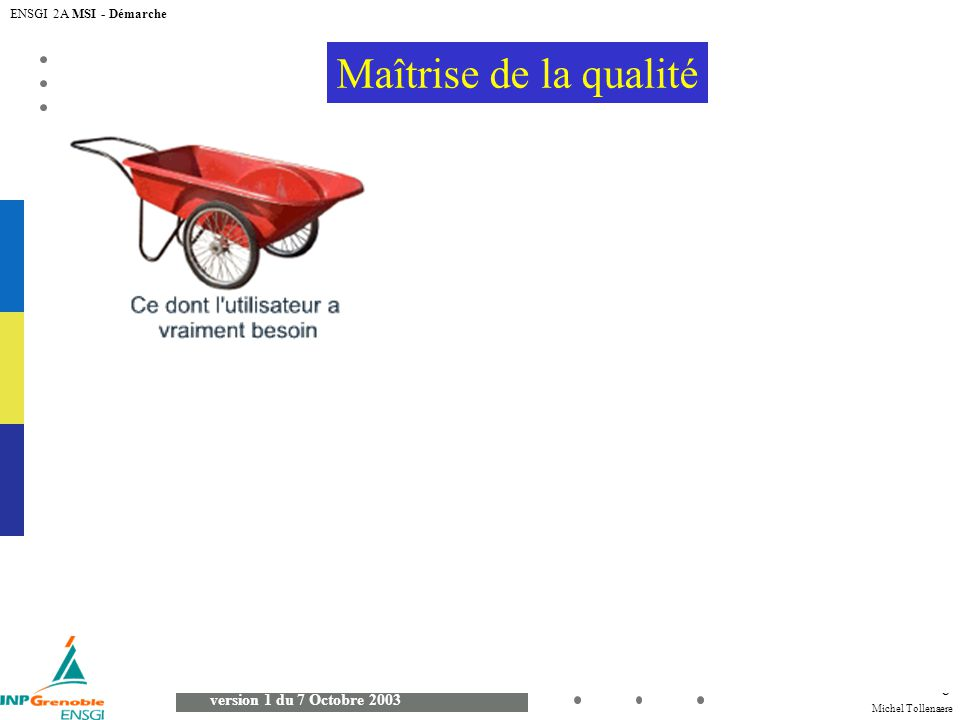 Michel Tollenaere version 1 du 7 Octobre 2003 ENSGI 2A MSI - Démarche 6 Maîtrise de la qualité