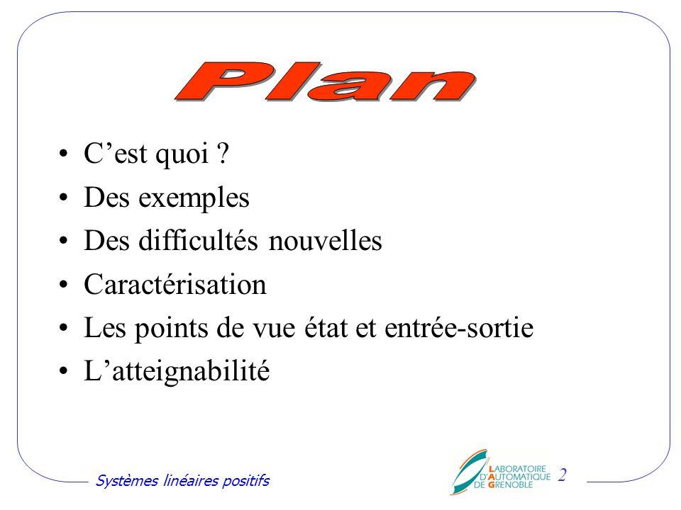 Systèmes linéaires positifs 13 Stabilisation par retour détat Pour la stabilisation et la rapidité, Le mieux est de ne rien faire !