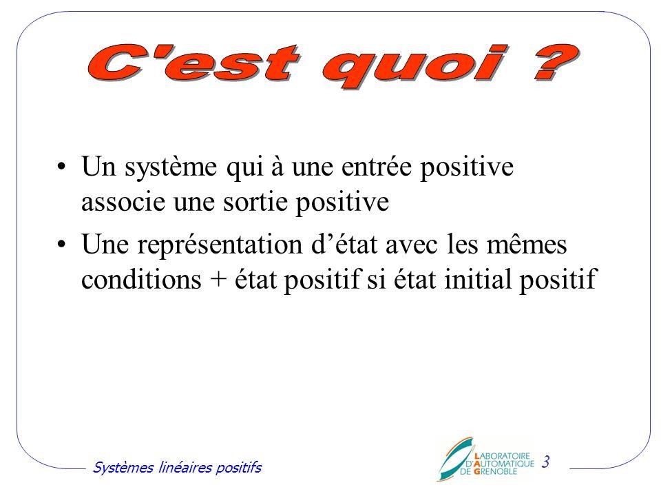 Systèmes linéaires positifs 4 Des systèmes à variables physiques positives par nature (niveaux, débits, concentrations, …).