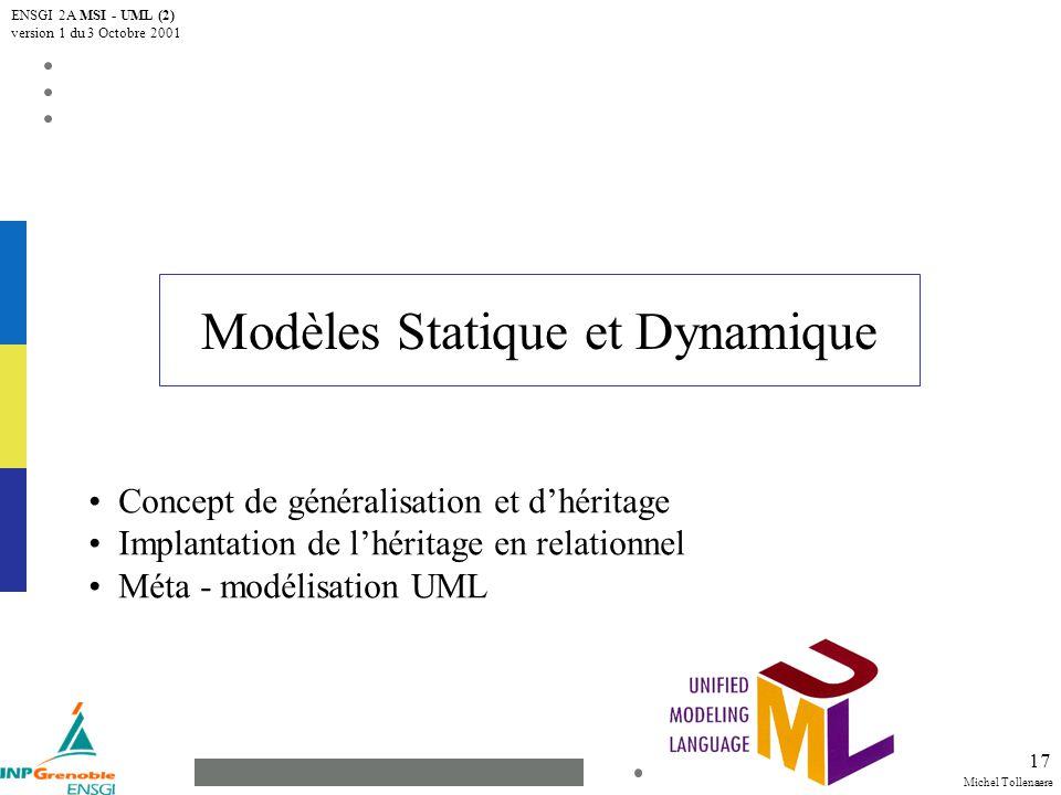 Michel Tollenaere ENSGI 2A MSI - UML (2) version 1 du 3 Octobre 2001 17 Modèles Statique et Dynamique Concept de généralisation et dhéritage Implantation de lhéritage en relationnel Méta - modélisation UML