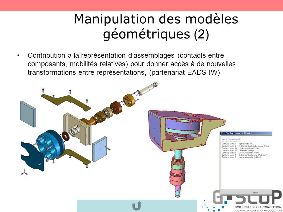 Manipulation des modèles géométriques (1) Représentation mixte (facettisée + NURBS(CAO)) pour accroître les réorganisations possibles entre les vues p