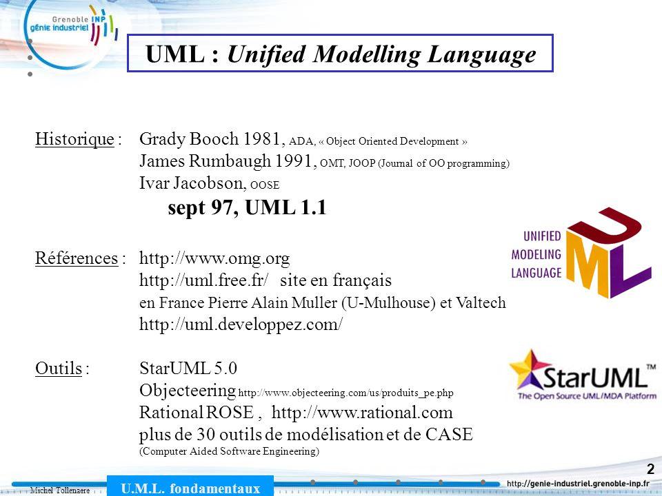 Michel Tollenaere U.M.L. fondamentaux 2 UML : Unified Modelling Language Historique : Grady Booch 1981, ADA, « Object Oriented Development » James Rum