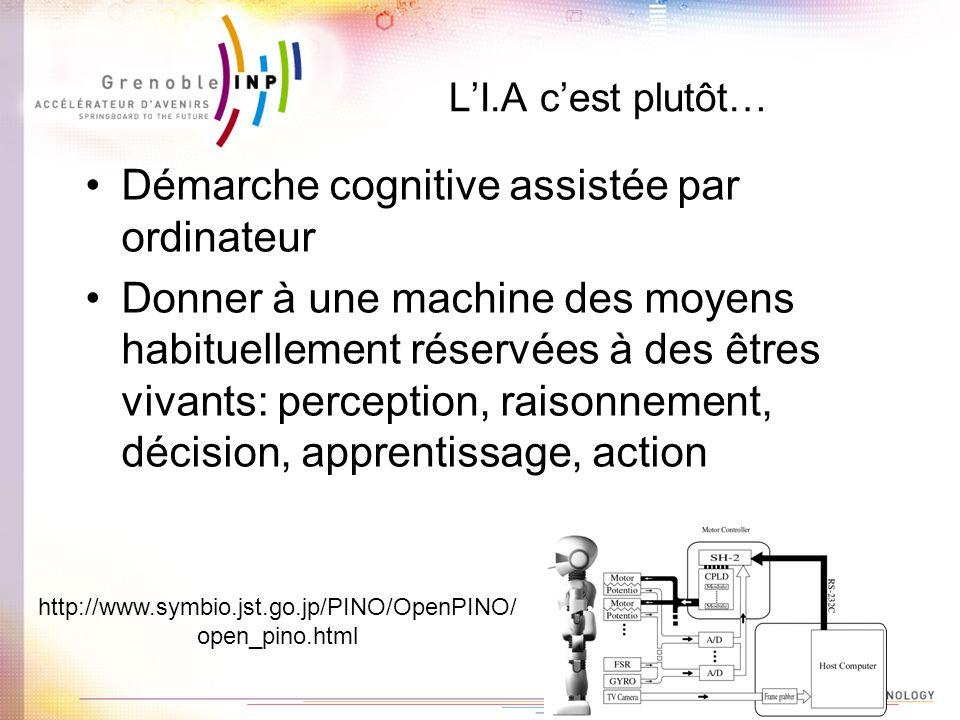 LI.A cest plutôt… Démarche cognitive assistée par ordinateur Donner à une machine des moyens habituellement réservées à des êtres vivants: perception,