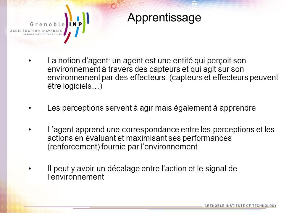 Apprentissage La notion dagent: un agent est une entité qui perçoit son environnement à travers des capteurs et qui agit sur son environnement par des