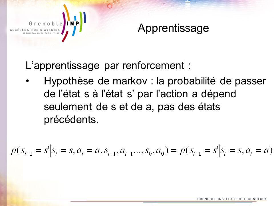 Apprentissage Lapprentissage par renforcement : Hypothèse de markov : la probabilité de passer de létat s à létat s par laction a dépend seulement de