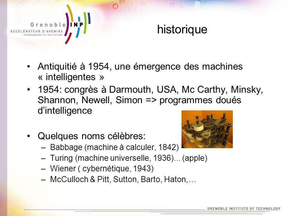 historique Antiquitié à 1954, une émergence des machines « intelligentes » 1954: congrès à Darmouth, USA, Mc Carthy, Minsky, Shannon, Newell, Simon =>