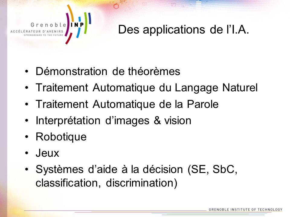 Des applications de lI.A. Démonstration de théorèmes Traitement Automatique du Langage Naturel Traitement Automatique de la Parole Interprétation dima
