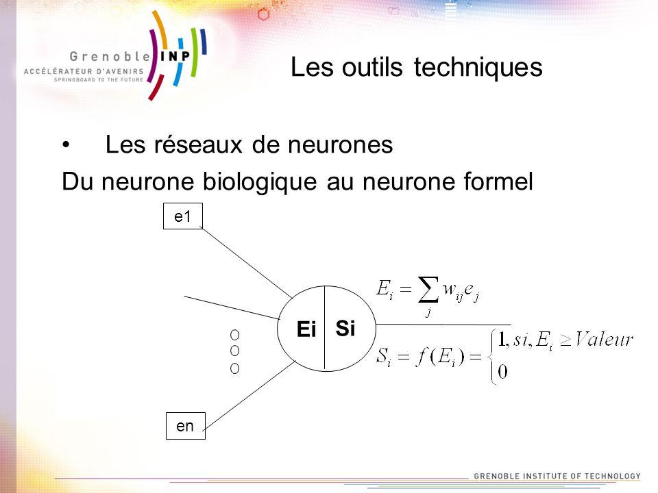Les outils techniques Les réseaux de neurones Du neurone biologique au neurone formel e1 Ei en Si