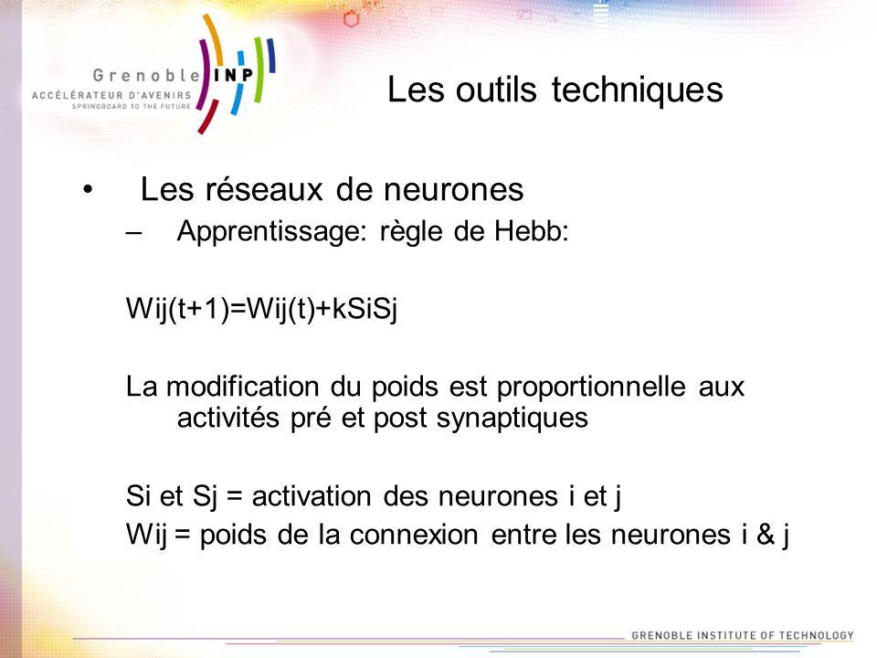 Les outils techniques Les réseaux de neurones –Apprentissage: règle de Hebb: Wij(t+1)=Wij(t)+kSiSj La modification du poids est proportionnelle aux ac