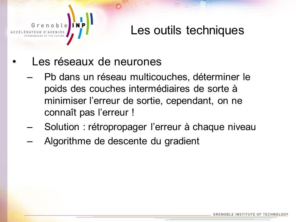 Les outils techniques Les réseaux de neurones –Pb dans un réseau multicouches, déterminer le poids des couches intermédiaires de sorte à minimiser ler