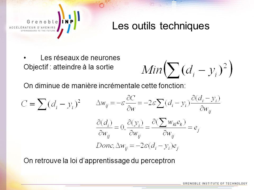 Les outils techniques Les réseaux de neurones Objectif : atteindre à la sortie On diminue de manière incrémentale cette fonction: On retrouve la loi d