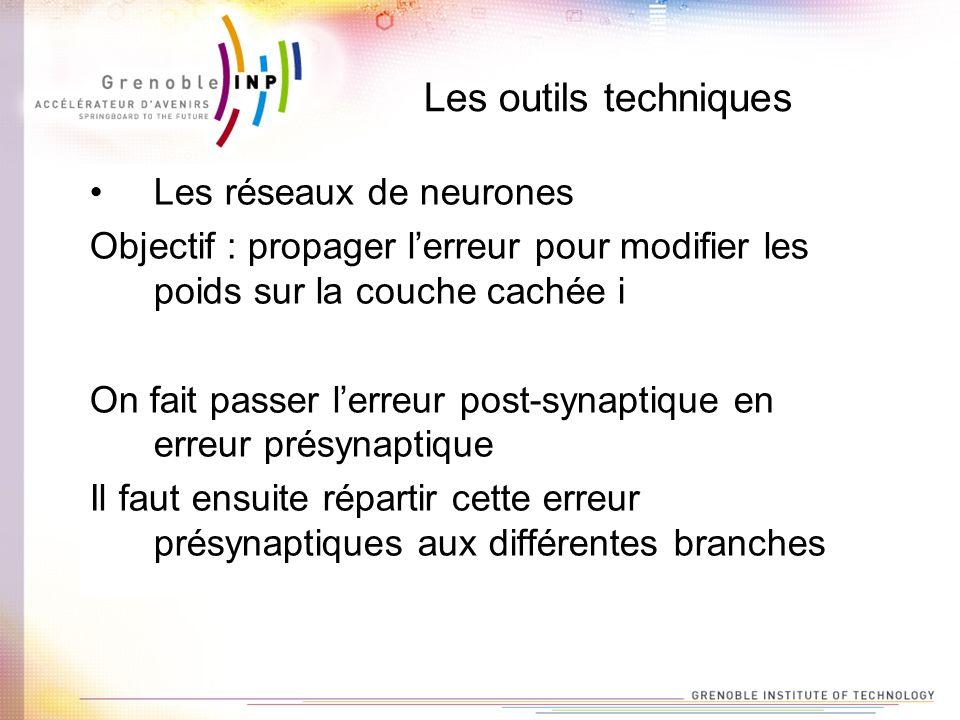 Les outils techniques Les réseaux de neurones Objectif : propager lerreur pour modifier les poids sur la couche cachée i On fait passer lerreur post-s