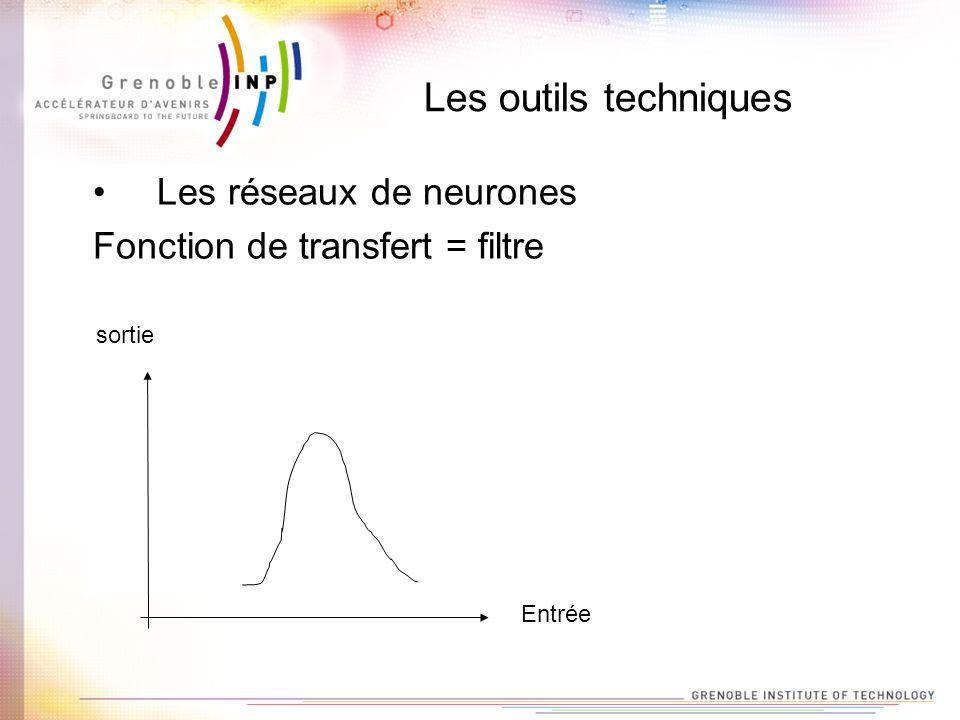 Les outils techniques Les réseaux de neurones Fonction de transfert = filtre sortie Entrée