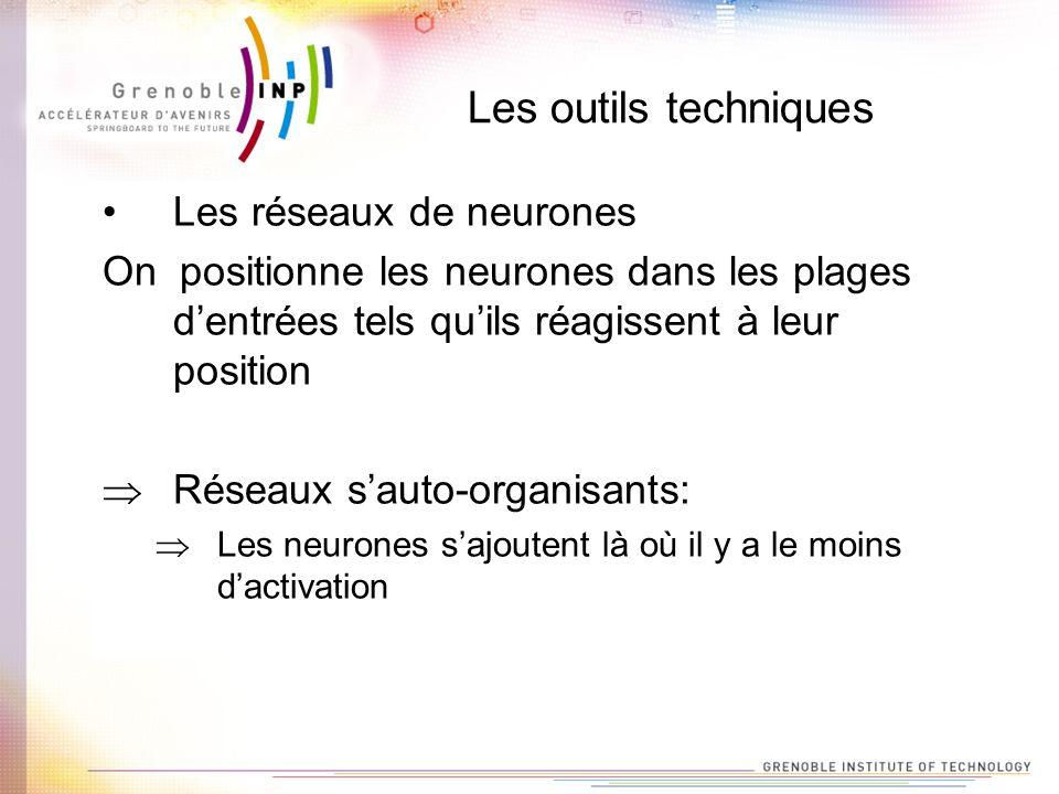 Les outils techniques Les réseaux de neurones On positionne les neurones dans les plages dentrées tels quils réagissent à leur position Réseaux sauto-