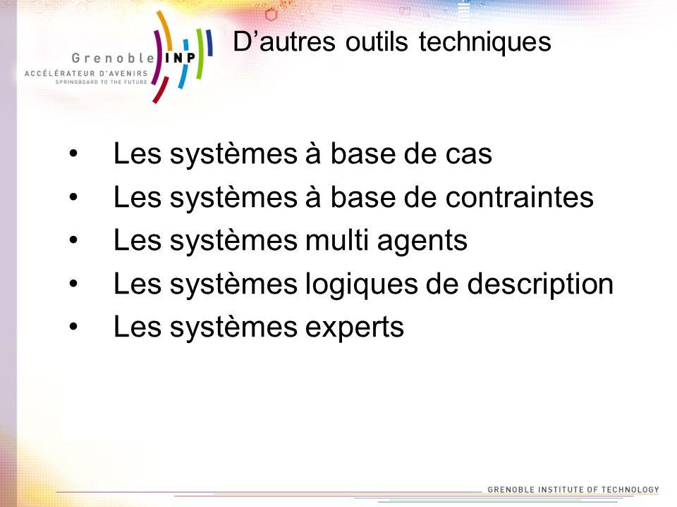 Dautres outils techniques Les systèmes à base de cas Les systèmes à base de contraintes Les systèmes multi agents Les systèmes logiques de description