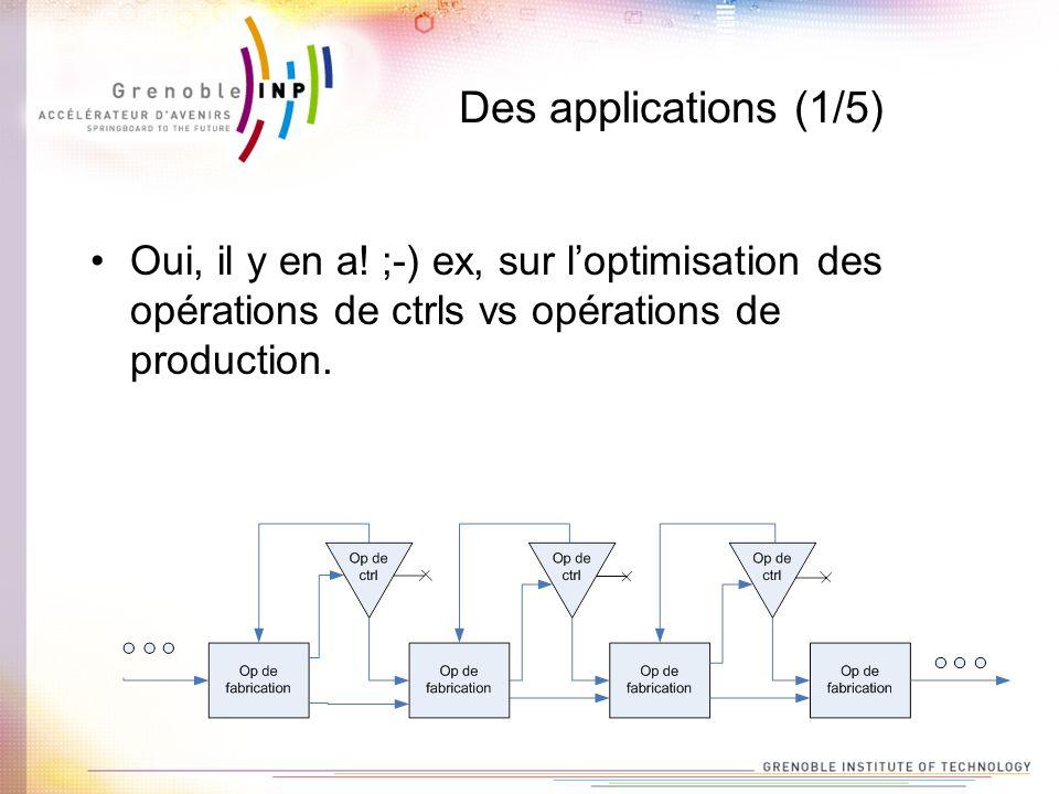 Des applications (1/5) Oui, il y en a! ;-) ex, sur loptimisation des opérations de ctrls vs opérations de production.