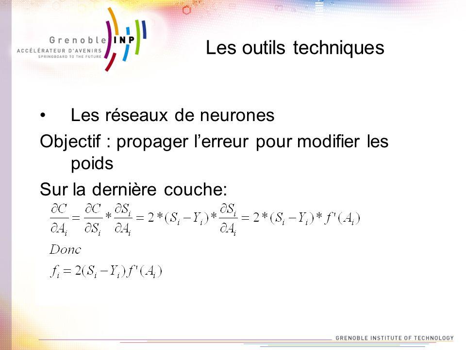 Les outils techniques Les réseaux de neurones Objectif : propager lerreur pour modifier les poids Sur la dernière couche: