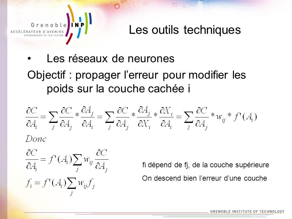 Les outils techniques Les réseaux de neurones Objectif : propager lerreur pour modifier les poids sur la couche cachée i fi dépend de fj, de la couche
