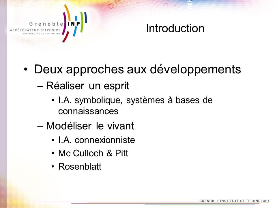 Introduction Deux approches aux développements –Réaliser un esprit I.A. symbolique, systèmes à bases de connaissances –Modéliser le vivant I.A. connex