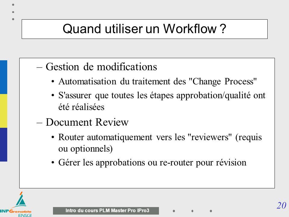 19 Intro du cours PLM Master Pro IPro3 Quest quun workflow .