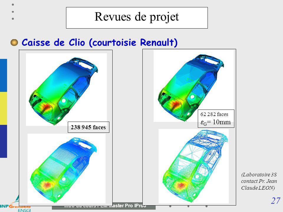 26 Intro du cours PLM Master Pro IPro3 Revues de projet (courtoisie ) Nécessité d adaptation des modèles géométriques basés sur des modèles polyédriques (Laboratoire 3S contact Pr.