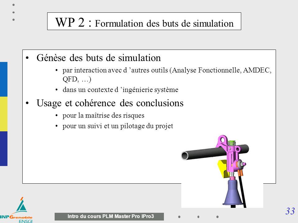 32 Intro du cours PLM Master Pro IPro3 Organisation du projet Suivi dusage de loutil SG3C et de la méthodologie sur les sites pilotes définis par les entreprises WP1 Génération des buts de simulation WP2 Structuration du modèle physique entités « métier » WP3 Coopération avec les SI dentreprises WP6 Réutilisation traces / épisodes de simulation WP4 Corrélation avec les essais physiques WP7 OSCAR : une démarche de management des connaissances de simulation Dissémination, formation WP9