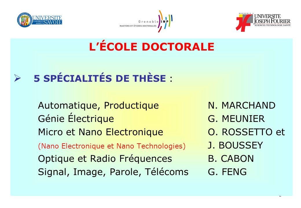2 LÉCOLE DOCTORALE 5 SPÉCIALITÉS DE THÈSE : Automatique, Productique N.